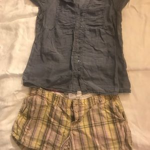 Yellow Low Rise Striped Shorts